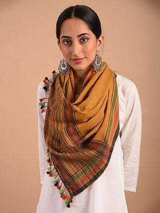 Brown Handloom Bhujodi  Cotton Stole