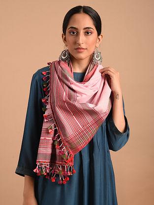 Pink Handloom Bhujodi  Cotton Stole