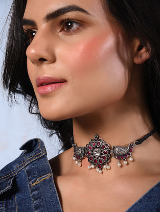 Red Silver Tone Tribal Choker Necklace With Pearls