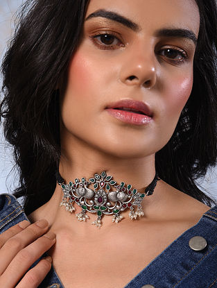 Red Green Silver Tone Tribal Choker Necklace With Pearls