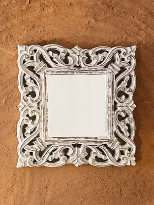 Hand Carved Wooden Mirror Frame (L - 12in, W - 12in)