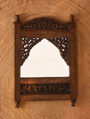 Hand Carved Wooden Mirror Frame (L - 22in, W - 15in)