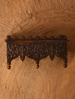 Hand Carved Wooden Wall Bracket (L - 4.5in, W - 16in, H - 8.5in)