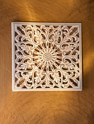 Hand Carved Wooden Wall Panel (L - 17.6in, W - 17.6in)