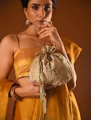 Beige Handcrafted Mukaish Silk Potli
