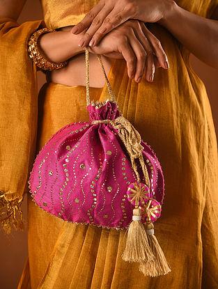 Pink Handcrafted Mukaish Silk Potli