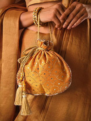 Mustard Handcrafted Mukaish Silk Potli