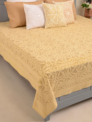 Hand Crafted Applique Mirror Work Cotton Double Bedcover (L - 108in, W - 90in)