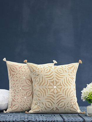 Hand Crafted Applique Mirror Work Cotton Cushion Cover (L - 16in, W - 16in)