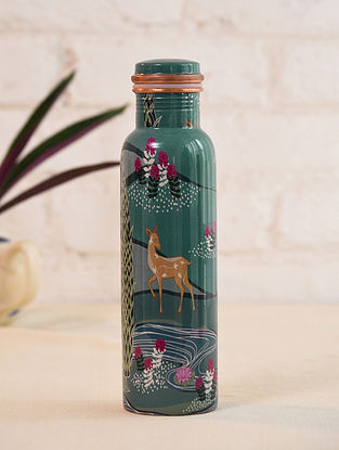 Multicolor Hand Crafted Decal Copper Bottle (Dia - 2.6in, H - 10.5in)