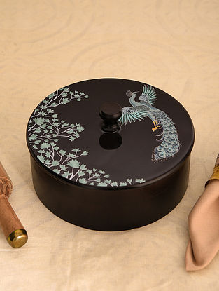 Multicolor Hand Crafted Decal Mango Wood Roti Box (Dia - 9.1in, H - 4.3in)