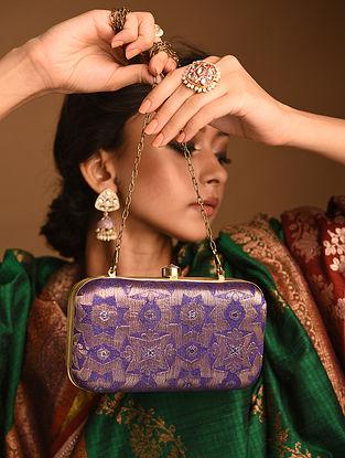 Purple Handcrafted Brocade Clutch
