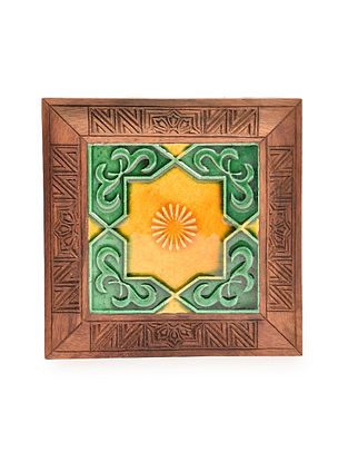 Brown-Multicolored Handcrafted Sheesham Wood Coaster with Ceramic Tile (L - 6in, W - 6in, H - 0.6in)