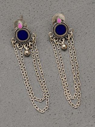 Blue Silver Tone Tribal Enameled Earrings
