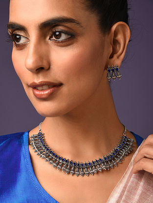 Blue Silver Tone Tribal Necklace With Earrings