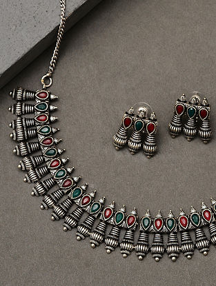 Green Red Silver Tone Tribal Necklace With Earrings