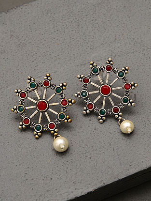 Green Red Silver Tone Tribal Earrings With Pearls