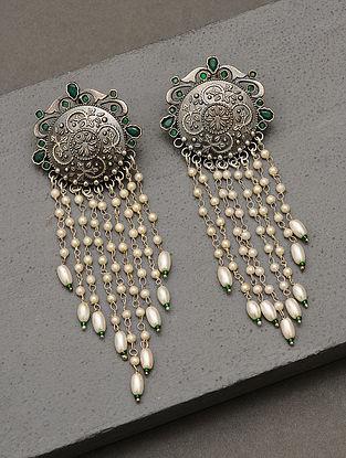Green Silver Tone Pearl Beaded Tribal Earrings