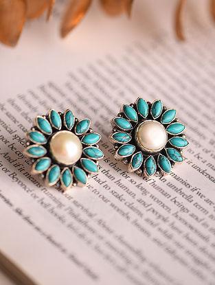 Turquoise Pearl Silver Earrings