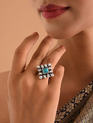 White Turquoise Silver Adjustable Ring