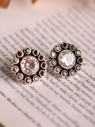 White Black Silver Earrings