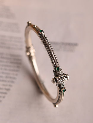 Green Silver Openable Bangle (Size:2/6)