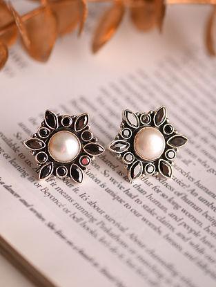 Black White Silver Earrings
