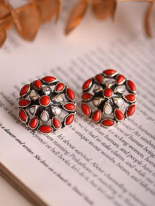 Pearl Coral Silver Earrings