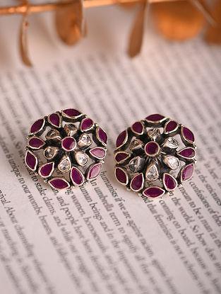 Maroon White Silver Earrings