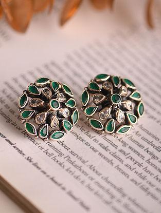 White Green Silver Earrings