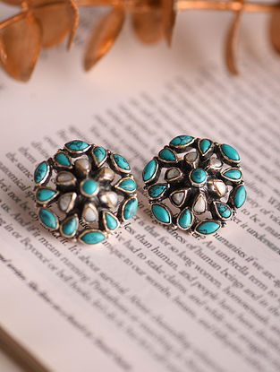 White Turquoise Silver Earrings