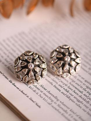 White Silver Earrings