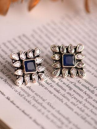White Blue Silver Earrings