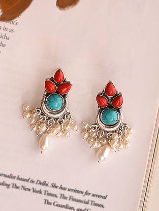 Coral Blue Silver Earrings