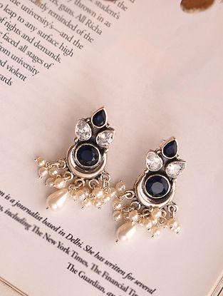 Blue White Silver Earrings