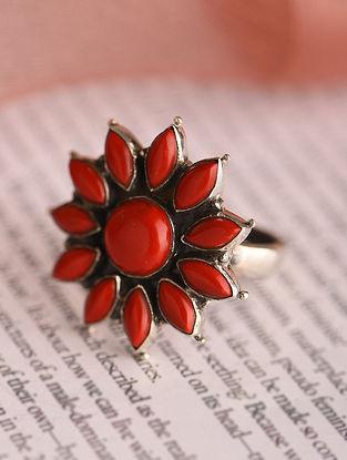 Orange Silver Adjustable Ring