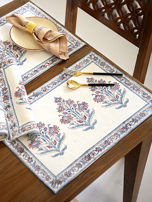 Blue and Rust Boota Handblock Printed Cotton Table Mats (Set of 4)