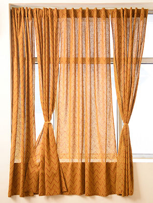 Mustard Handblock Printed Cotton Slub Curtain (L - 84in, W - 42in)