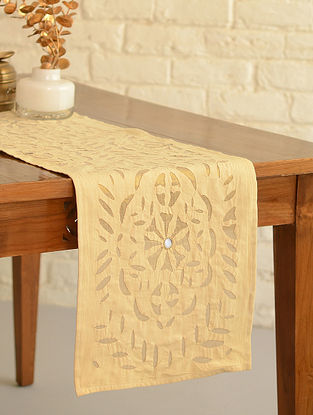 Hand Crafted Applique Mirror Work Cotton Table Runner (L - 72in, W - 13in)