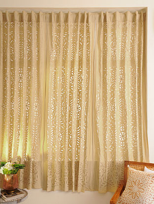 Hand Crafted Applique Mirror Work Cotton Curtain (L - 84in, W - 43in)