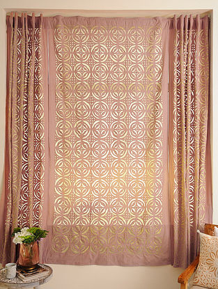 Hand Crafted Applique Mirror Work Cotton Curtain (L - 84in, W - 44in)