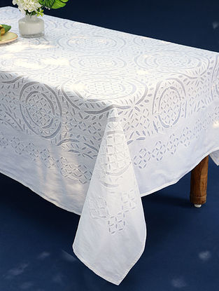 Hand Crafted Applique Mirror Work Cotton Table Cover (L - 90in, W - 60in)