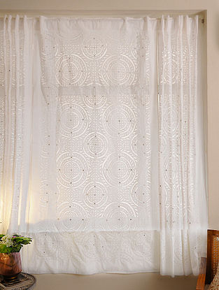 Hand Crafted Applique Mirror Work Cotton Curtain (L - 84in, W - 45in)
