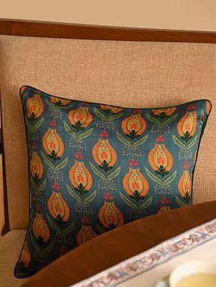 Multicolor Chanderi Digital Printed Cushion Cover (L - 15.5in, W - 15.5in)