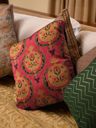 Multicolor Chanderi Digital Printed Cushion Cover (L - 16in, W - 16in)