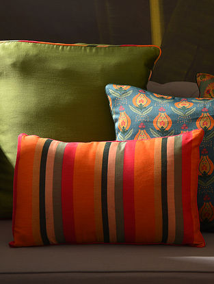 Multicolor Chanderi Digital Printed Cushion Cover (L - 18in, W - 12in)