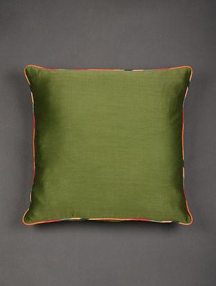 Green Chanderi Cushion Cover (L - 20in, W - 20in)