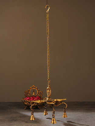 Brass Handcrafted Hanging Diya (L - 8.5in, W - 8.5in, H - 27.5in)
