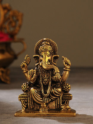 Brass Handcrafted Seated Ganesha (L - 2in, W - 3.1in, H - 4in)