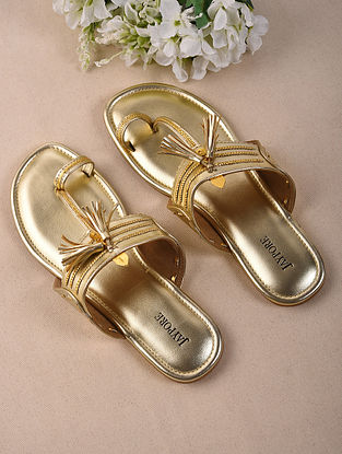 Dull Gold Handcrafted Soft Leather Kolhapuri Flats